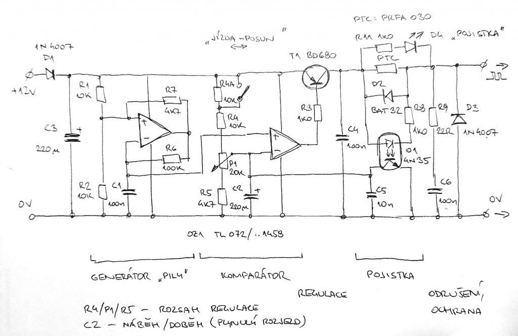 Schéma řídící části ovladače