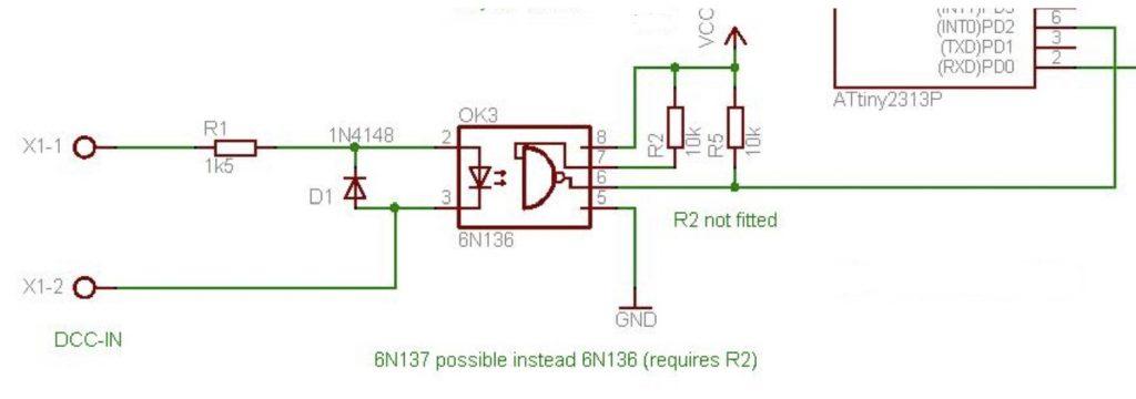 Zapojení DCC vstupu pro Arduino